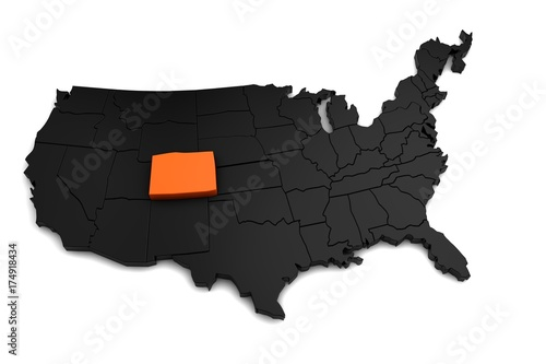 Fototapeta United States of America, 3d black map, with Colorado state highlighted in orange. 3d render
