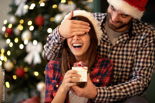 Girlfriend and boyfriend celebrating Christmas