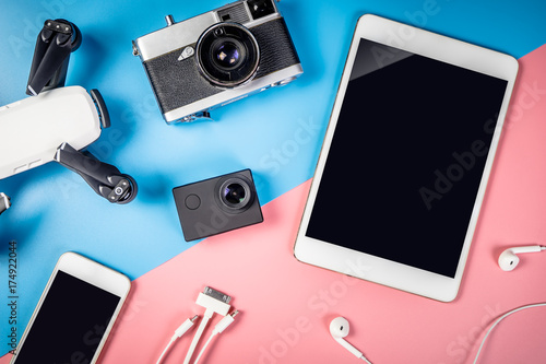 Foto Murales Travel gadgets and object with empty tablet screen for mock up