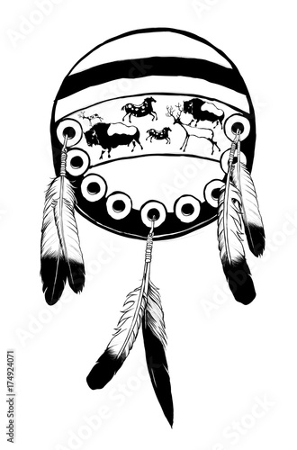 Tuinposter Art Studio Native american shield