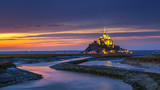 Mont Saint-Michel view in the sunset light. Normandy, northern France - 174926299