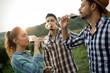 Quadro Wine grower and people in vineyard