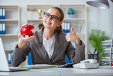 Female businesswoman boss accountant working in the office - 174933655