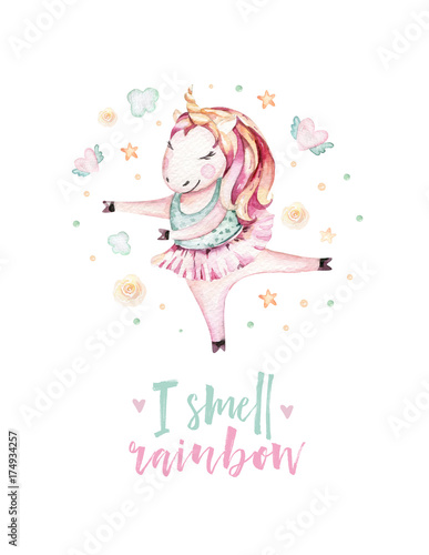 Isolated cute watercolor unicorn clipart. Nursery unicorns illustration. Princess unicorns poster. Trendy miracle pink cartoon horse. - 174934257