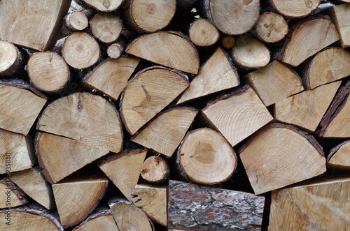 Poster Brandhout textuur Ordered Firewood Stack