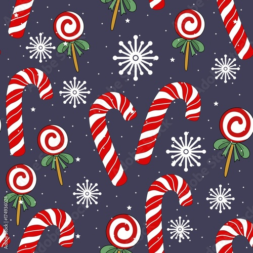 Cute Christmas holiday seamless pattern. Hand drawing vector illustration. - 174936024