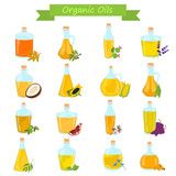 Set of different natural oils bottles color flat icons - 174940272