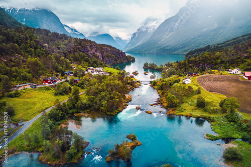 Poster Bergen Beautiful Nature Norway aerial photography.