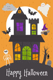 Halloween card design with castle - vector illustration, eps