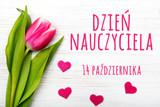 Fototapeta Tulips - Kartka z okazji Dnia Nauczyciela  © czarny_bez