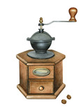 Watercolor illustration of coffee grinder  - 174946069
