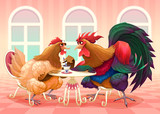 Hen and rooster in a cafè - 174946403