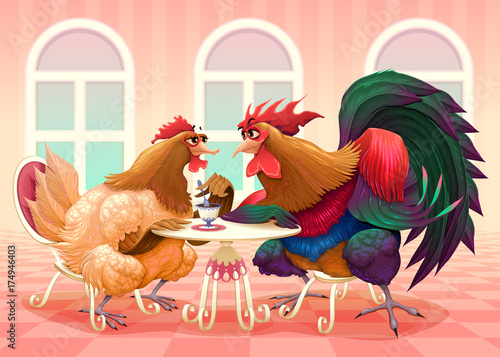 Deurstickers Kinderkamer Hen and rooster in a cafè