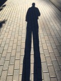 man's long shadow in early morning - 174949681