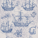 Old caravel, vintage sailboat, sea monster. Vector seamless pattern - 174950846