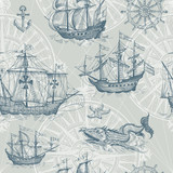 Old caravel, vintage sailboat, sea monster. Vector seamless pattern - 174951680