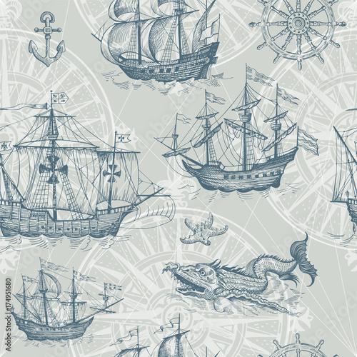 Fototapeta Old caravel, vintage sailboat, sea monster. Vector seamless pattern