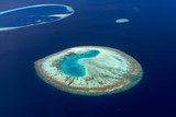 Colorful aerial photo of small island in Maldives atolls and deep blue sea - 174951852