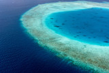 Colorful aerial photo of Maldives atolls and deep blue sea - 174952034
