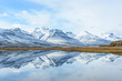 Amazing reflection of snow mountain in Iceland