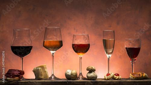 set di vini e cibo