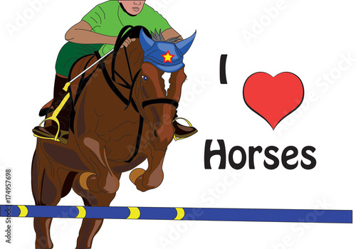 In de dag Art Studio horse jumping vector with the phrase i love horses