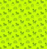 Seamless pattern of cactuses in pots