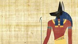 The Egyptian God of Death Anubis on a Papyrus Background - 174958483