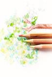 Watercolor pencils on paper - 174961438