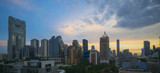 Panorama view of Bangkok business district skyline at dusk. - 174962058