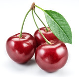 Cherries with leaf.