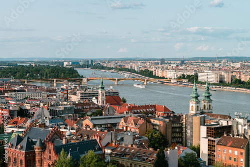 Panoramic view on the Hungarian Parliament Building on the bank of the Danube in Budapest Poster