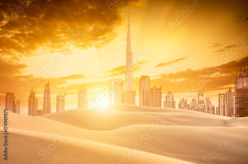 View of dubai skyline and desert Poster