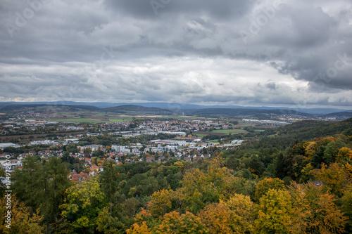Keuken foto achterwand Donkergrijs Blick über Coburg an einen Herbsttag