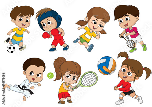 Children of various types of sports, such as soccer, boxing, running, badminton, taekwondo, play tennis, volleyball. - 174973086