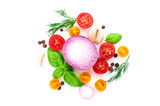 spicy fresh herbs and tomatoes - 174973679