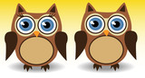 couple of owls, boy and girl with long eyelashes, love, together - 174974234