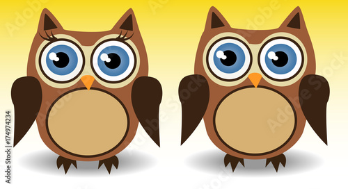 Foto op Aluminium Uilen cartoon couple of owls, boy and girl with long eyelashes, love, together