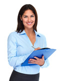 Business woman with clipboard - 174976260