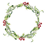 Watercolor holly and mistletoe wreath. Hand painted border floral branch and white berry isolated on white background. Christmas clip art for design or print. Holiday plant. - 174979086