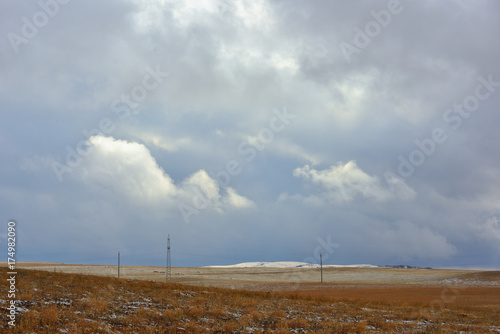 Foto op Plexiglas Bleke violet Kazakh countryside in winter