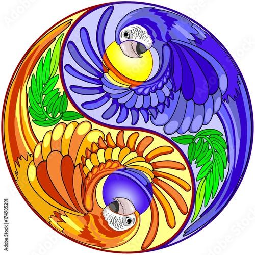 Deurstickers Draw Yin Yang Macaw Parrot Sign