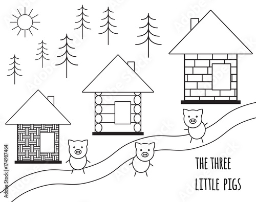 Three little pigs fairy tale. Vector illustration isolated on white background. Black and white simple silhouette. - 174987464