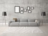 Mock up a comfortable living room with a stylish sofa on the hipster background. - 174987676
