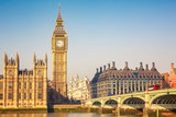 Fototapeta Londyn - Big Ben and westminster bridge in London © sborisov