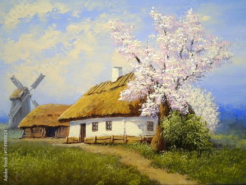 Oil paintings, rural landscape.Harvesting, stacks