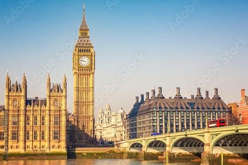 Big Ben and westminster bridge in London Poster