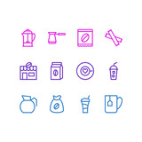 Vector Illustration Of 12 Java Icons. Editable Pack Of Drink Pot, Decanter, Package Latte And Other Elements. - 174989421