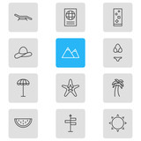 Vector Illustration Of 12 Summer Icons. Editable Pack Of Certificate, Fish, Cap And Other Elements. - 174989487