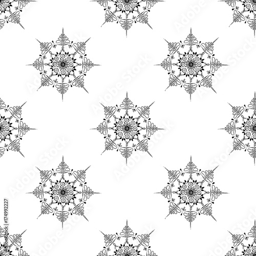 Mandala snowflake seamless pattern gentle Poster